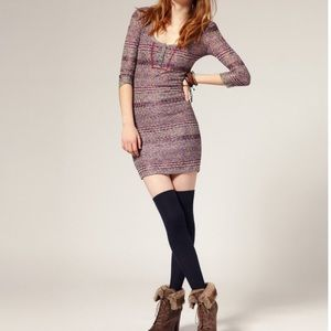 FREE PEOPLE | M sunrise knit bodycon henley dress